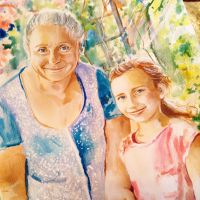 Акварельный портрет Бабушка и внучка