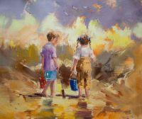 Дети на морском берегу. N13