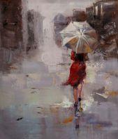 Девушка под красным зонтом