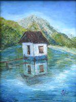 Картина маслом - Дом на воде.