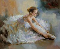 Балерина. Завязывающая пуанту