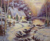 Копия картины Томаса Кинкейда Вечерний свет