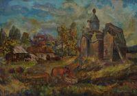 лошадь у заброшенного храма