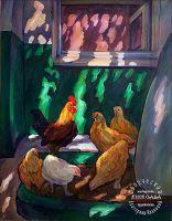 Южный дворик. Петух и курицы