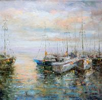 Лодки в утреннем заливе N2