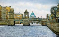 Санкт-Петербург. На Фонтанке. Вид на мост Ломоносова