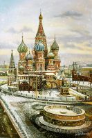 Кирпичное кружево Москвы. Снежный вид на Храм Василия Блаженного
