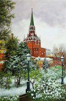В Москве ранний снег. Вид на Кремль из Александровского сада