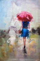 Девушка под красным зонтом на фоне Эйфелевой башни