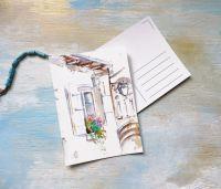 Цветущий полдень - открытка акварелью