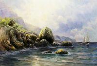 Копия морского пейзажа Льва Лагорио На берегу