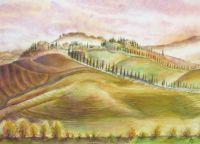 Рассвет на холмах Тосканы