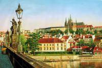 """Городской пейзаж """"Прага. Вид на Градчаны с Карлова моста"""""""