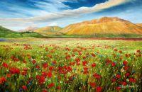 "Летний пейзаж маслом ""Маки на фоне гор N1"""