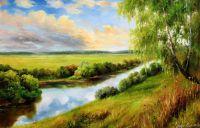 """Летний пейзаж маслом """"На берегу реки"""""""