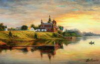 """Летний пейзаж маслом """"Рыбалка на закате у Старой Ладоги"""""""