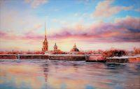 """Городской пейзаж """"Розовый рассвет Санкт-Петербурга"""""""
