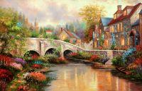"""Копия картины Томаса Кинкейда """"Булыжнный мост Брук (Cobblestone Brooke)"""""""
