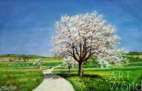 """Пейзаж маслом """"Яблоневый цвет, весенний цвет N2"""""""