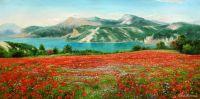 "Летний пейзаж маслом ""Маки на фоне гор N2"""
