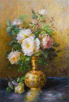 """Натюрморт маслом """"Букет роз в золотой вазе"""""""