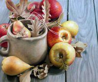 """Картина маслом """"Осенний натюрморт с яблоками и грушами"""""""