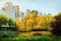 """Пейзаж городской маслом """"Нью-Йорк. Осень в Центральном парке N2"""""""