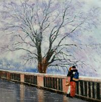 """Картина маслом """"Tombe la neige (Падает снег)"""""""