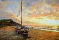 Морской пейзаж с лодкой «Закат на райском острове»