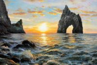 Морской пейзаж Крыма «Карадаг. Золотые ворота на фоне заката»