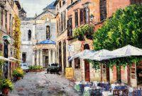 """Городской пейзаж маслом """"Рим. На улице в сиесту"""""""