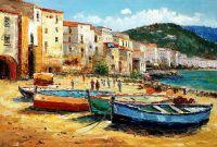 """Пейзаж маслом """"Средиземноморский город. Лодки на пляже"""""""