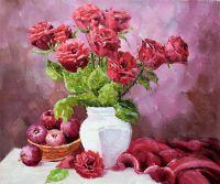 """Картина маслом """"Розы. Натюрморт в бордовых тонах"""""""