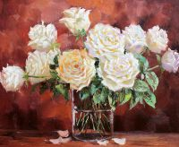 """Картина маслом """"Букет белых роз"""""""