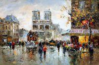 """Пейзаж Парижа Антуана Бланшара """"Place Saint Michel Notre Dame (копия Кристины Виверс)"""