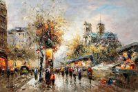 """Пейзаж Парижа Антуана Бланшара """"Booksellers Notre Dame (копия Кристины Виверс)"""""""