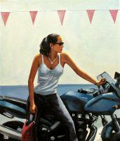 """Копия картины Джека Веттриано """"La fille la moto"""", худ. С.Камский"""