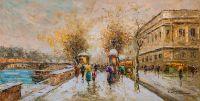 "Пейзаж Парижа Антуана Бланшара ""Париж. Сена"" (вольная копия Кристины Виверс)"
