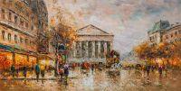 "Пейзаж Парижа Антуана Бланшара ""Rue Royal Madeleine"" (копия Кристины Виверс)"