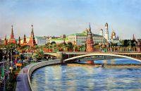 """Пейзаж маслом """"Москва предпраздничная"""""""
