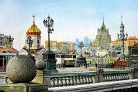 """Пейзаж маслом """"Прогулки по Москве. Рядом с Храмом Христа Спасителя"""""""