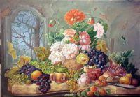 Цветы в вазе и фрукты