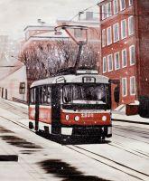 Зимний пейзаж с трамваем, серия Московские трамваи