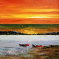 Лодки на фоне заката