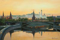 Пейзаж маслом Москва ранним утром