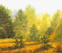 Летний пейзаж маслом Солнце в лесу N2