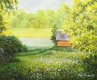 Летний пейзаж маслом Прогулка в одуванчиках