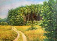 Летний пейзаж маслом Дорога вдоль опушки леса