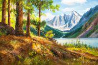 Летний пейзаж маслом Сосны у горного озера