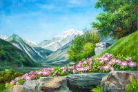Летний пейзаж маслом Цветы и горы, горы и цветы N2